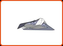 Raumschiff 2 Model (von unten hinten)