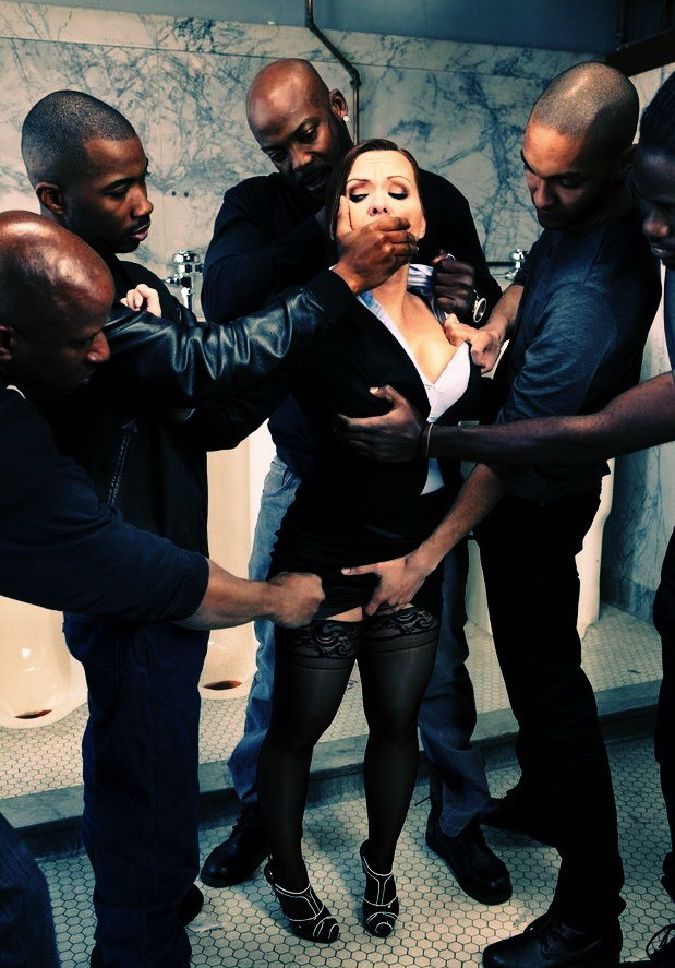 BoundGangBangs/Kink - Katja Kassin - Sexy Business Lady gets Overpowered and Gang Banged in a Public Restroom by Big Black Cocks (720p/HD)