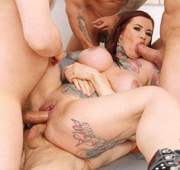 Sabien Demonia - Busty inked slut Sabien Demonia first time to Gonzo with 4on1 Airtight DP SZ2461 1080p Cover