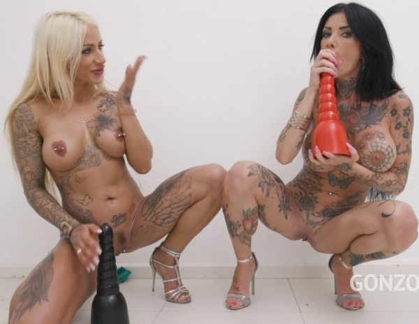 Tattooed sluts Megan Inky, Harleen Van Hyteen double anal fucked together in hot 5on2 orgy SZ2533 720p