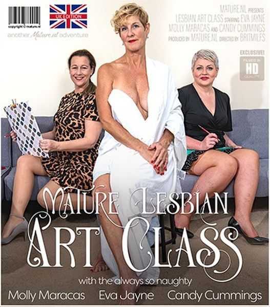 Candy Cummings, Eva Jayne, Molly Maracas - Welcome to the mature lesbian Art class 1080p