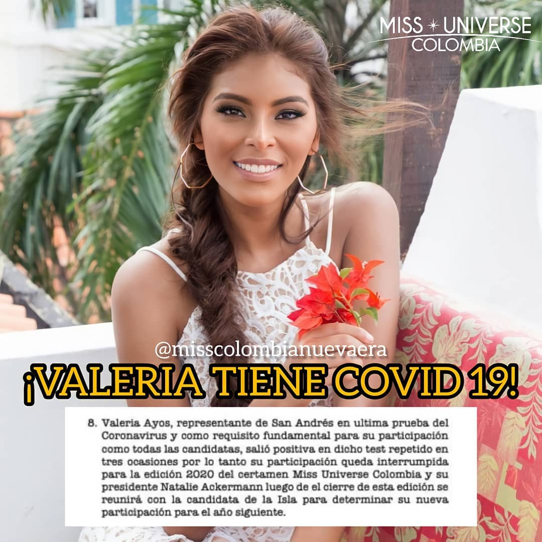 valeria ayos tene covid, por tanto no va + participar de miss universe colombia 2020. C9o6crnf
